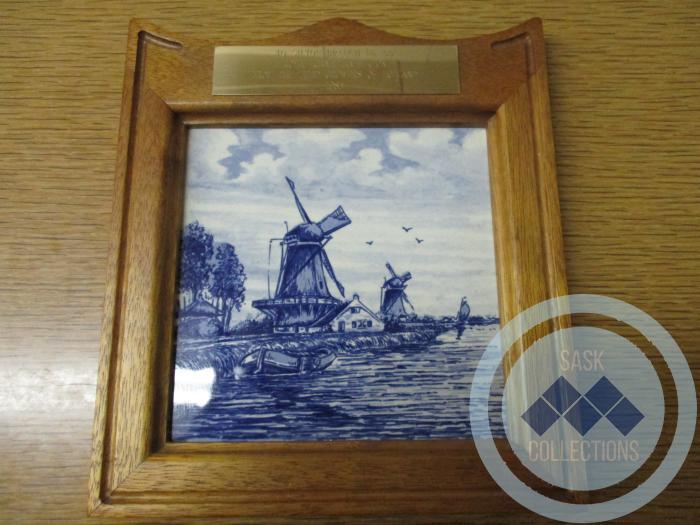 Framed Delftware of Dutch Riverside